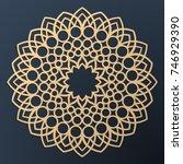 laser cutting mandala. golden... | Shutterstock .eps vector #746929390