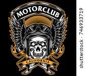 skull race motorbike tee design ... | Shutterstock .eps vector #746933719