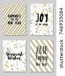 new year cards set with joy to... | Shutterstock .eps vector #746935084