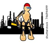 Animated construction site woodcutter robot - stock vector