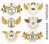 vintage decorative heraldic... | Shutterstock .eps vector #746952328