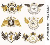 vintage decorative heraldic... | Shutterstock .eps vector #746952334