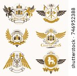 set of vector vintage emblems... | Shutterstock .eps vector #746952388
