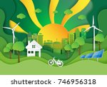 green eco friendly city with... | Shutterstock .eps vector #746956318