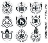 old style heraldry  heraldic... | Shutterstock .eps vector #746958490
