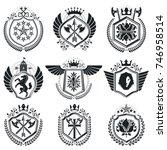 classy emblems  vector heraldic ... | Shutterstock .eps vector #746958514