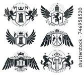 heraldic signs  elements ... | Shutterstock .eps vector #746958520