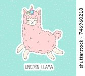 cute pink fluffy unicorn llama  ... | Shutterstock .eps vector #746960218