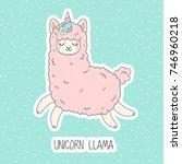 Stock vector cute pink fluffy unicorn llama alpaca cartoon character vector illustration funny smiling 746960218