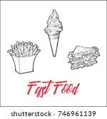 vector sketch potato fry ...   Shutterstock .eps vector #746961139