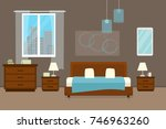 bedroom with furniture and... | Shutterstock .eps vector #746963260