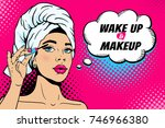 wake up and makeup. closeup of... | Shutterstock .eps vector #746966380