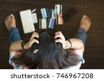 top view of stressed young... | Shutterstock . vector #746967208
