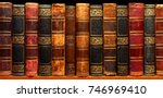 ancient books on shelf in the... | Shutterstock . vector #746969410