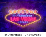 neon las vegas sign on urban... | Shutterstock .eps vector #746969869