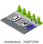 vector isometric parking lot... | Shutterstock .eps vector #746971534