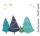 greeting card with christmas... | Shutterstock .eps vector #746971696