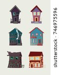 the old abandoned house turned... | Shutterstock .eps vector #746975596