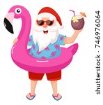 santa claus with flamingo... | Shutterstock .eps vector #746976064