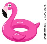 flamingo inflatable pool float. ... | Shutterstock .eps vector #746976076