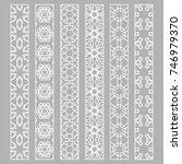 vector set of line borders with ... | Shutterstock .eps vector #746979370