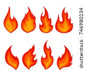 set of red fire icons. flames.... | Shutterstock .eps vector #746980234
