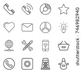 thin line icon set   phone ... | Shutterstock .eps vector #746982940