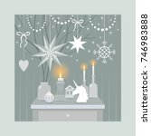 christmas decorating vintage... | Shutterstock .eps vector #746983888