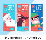christmas party flyer template... | Shutterstock .eps vector #746985508