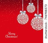 xmas postcard with balls  | Shutterstock . vector #746988373
