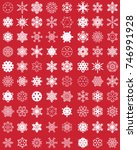 set of different snowflakes on... | Shutterstock .eps vector #746991928