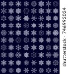 set of different snowflakes on... | Shutterstock .eps vector #746992024