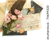 Vintage background - old postcards (1890-1925), photo, flowers - stock photo