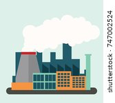 polluting air from factory pipe ... | Shutterstock .eps vector #747002524