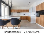 contemporary kitchen in... | Shutterstock . vector #747007696