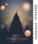 merry christmas landscape.... | Shutterstock .eps vector #747015400