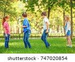 cute little children jumping...   Shutterstock . vector #747020854