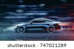 Stock photo high speed sports car futuristic concept with grunge overlay generic and brandless d 747021289