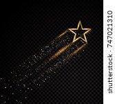 gold glittering spiral star... | Shutterstock .eps vector #747021310