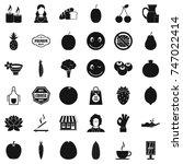 vegetarian shop icons set....   Shutterstock . vector #747022414