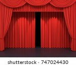 red stage curtains. luxury red... | Shutterstock . vector #747024430
