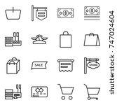 thin line icon set   basket ... | Shutterstock .eps vector #747024604