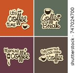vector set of four banners on... | Shutterstock .eps vector #747024700