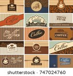 vector set of business cards on ... | Shutterstock .eps vector #747024760