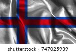realistic flag of faroe islands ... | Shutterstock . vector #747025939