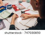 workplace of the mosaic master  ... | Shutterstock . vector #747030850