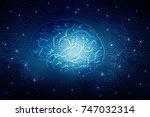 human brain 2d illustration | Shutterstock . vector #747032314