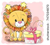 greeting card cute lion with... | Shutterstock .eps vector #747034870