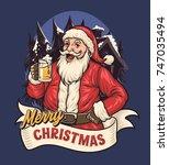 santa drink beer | Shutterstock .eps vector #747035494