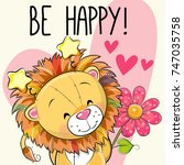 be happy greeting card lion... | Shutterstock .eps vector #747035758
